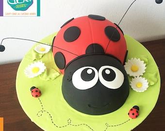 Edible Fondant Ladybug Cake Topper