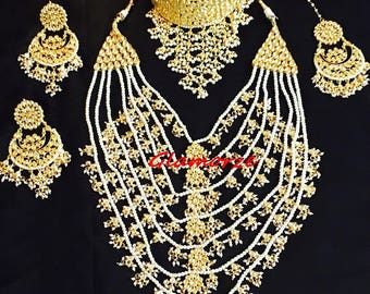 Satlada Haar set, Indian Jewelry, Indian Jewellery, Indian Bridal Set, Bollywood jewelry, Pakistani Jewelry, Pakistani bridal set,kundan set