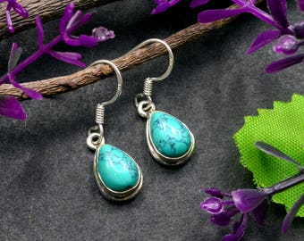 Natural Turquoise Pear Gemstone Drop Dangle Earring 925 Sterling Silver E203