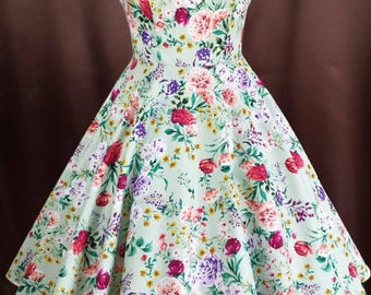 Rockabilly 50s prom swing flower dress