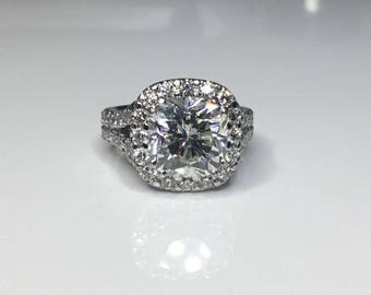 Estate Platinum GIA Certified 4.69 CTW Cushion Diamond Engagement Ring Size 4.5