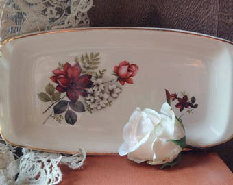 VINTAGE ROMANIAN PORCELAIN sandwich or cake tray, Faianta Sighisoara Romanian hand-painted platter, very pretty porcelain kitchenalia