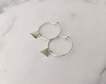 Sterling Silver hoop earrings with Small Triangle charms