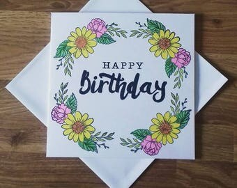 Handmade female birthday card, floral print happy birthday card, flowery card,