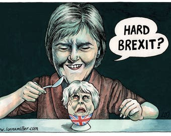 Hard Brexit? A4 Signed Giclee print of a pen & ink and watercolour cartoon.