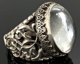 925 Sterling Silver Mens Ring Crystal Quartz Dur-e-Najaf Unique Handmade size 9