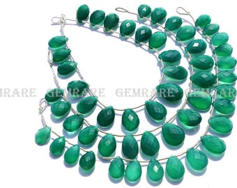 Green Onyx Pear Faceted beads, Quality AAA, 8x11.50 to 10x14 mm, 18 cm, 19 pieces, GR-039/1, Semiprecious Gemstone beads, Craft Supplies