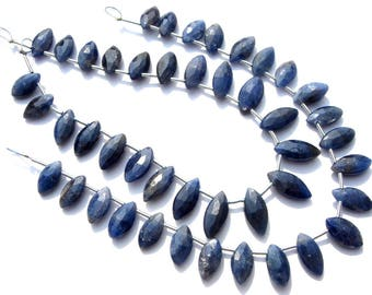 Semiprecious Bead,Natural Blue Sapphire Marquise Faceted Beads,Quality B, 5.50x10.50 to 6.50x12 mm, 18 cm, 23 pieces, SA-097/1,Gemstone Bead