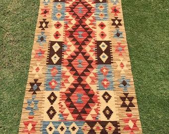 Article # 5380 VEGETABLE DYED Hand Made Chobi Kilim Runner Rug Double Face Design 187 x 65 cm - 6.1 x 2.1 Feet