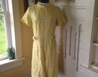 Vintage 60s mod dress,  yellow striped dress