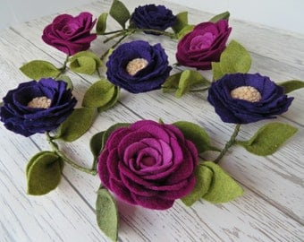 Peony and Ranunculus Felt Garland-Purple-Wall Hanging-Home Decor-Nursery-Wedding Decor-Birthday-Mother's day gift-Gift for her-Boho style