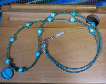 Blessing Pendant. Beaded necklace, Long Necklace, Teal Necklace, Blue and Green necklace