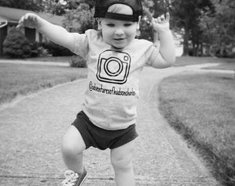 Personalized Instagram Name Shirt, Instagram Shirt, Camera Shirt, Baby Boy, Baby Boy Clothes,