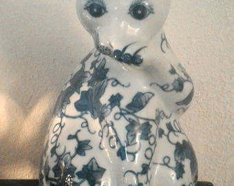 Beautiful Blue and White Cat Figurine