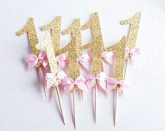 First Birthday Cupcake Topper  Pretty Gold and Pink for Birthday Cakes or Cupcake - Pkt 10