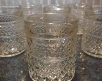 6 Vintage Pressed Whiskey Glasses 1960 -70