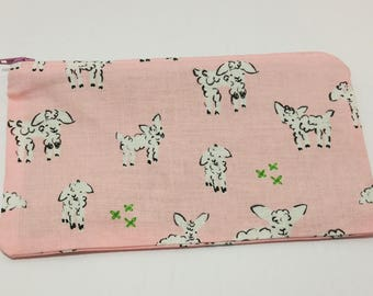 Frolicking Sheep Novelty Zipper Pouch - makeup bag; pencil case; gift for her; cosmetic bag; carry all; gadget case;
