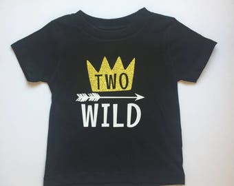 Two Wild 2nd Birthday T-Shirt Tee Shirt Onesie Black Wild Second Onesie Where The Wild Things Are Cake Smash Photo Prop Boy Gold Crown