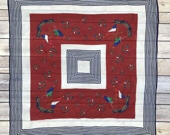 "VTG Ralph Lauren POLO Cross Flags Anniversary Scarf 100% Silk 25"" RARE 1967 1988"