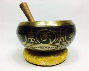 """8"""" (Solar Plexus) Tibetan Buddhist Brass Etched Singing Healing Bowl - 1.85 kg  ॐ"""