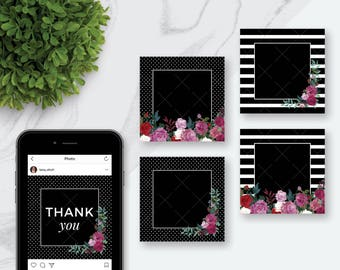 8 Blank Social Media Frames (JPEGS) | Black and White | Stripes | Polkadot Floral Instagram Frames | Add Your Own Text | Instagram