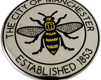 The City of Manchester - Established 1853 Silver Fridge Magnet - Made in UK - Chrome Mirror Manchester Bee Northern Gift Manc and Proud