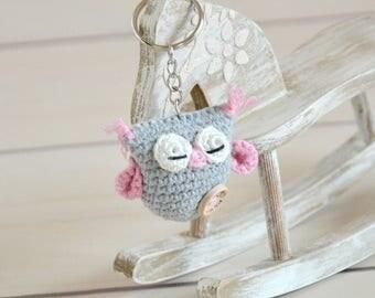 crochet owl, owl keychain, crochet keychain, handmade keychain, handmade owl, owl, owl toy, small gift, amigurumi owl, keychain, plush owl
