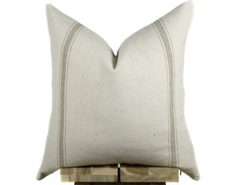 Grain Sack Pillow Cover | Modern Farmhouse Collection | Tan Stripe