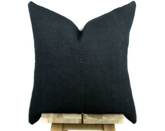 Solid Black Mudcloth Pillow Cover, Authentic Mud Cloth Pillow | Ina