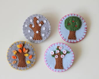 seasons of the heart: tree safety pins pointing at chest