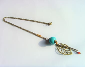 Leaf Pearl colored blue Turquoise chain necklace bronze and beads.