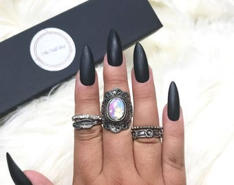Matte Black Press On Nails