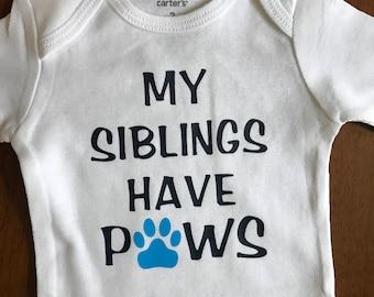 Dog sibling onesie
