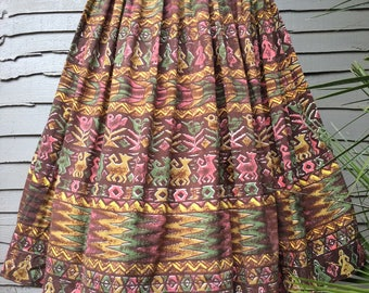 Great Fifties Novelty ' Folklore '  Print full pleated Skirt  Label : Korday UK Size 10 Vintage 1950's 50's