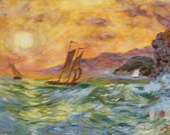 Boats on a Coastline, original acrylic painting