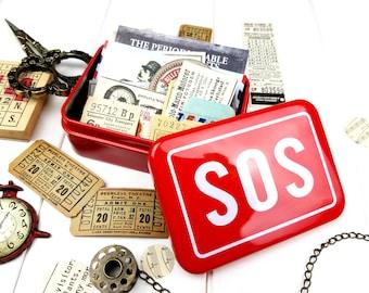 SOS Tin / Mini Tin / Vintage Style Tin / Red Tin
