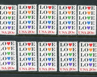 Love Stamps 10 Unused /USA Postage Stamps/  Heart Love Stamps