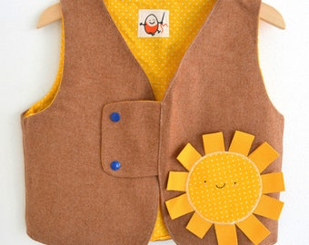4/6 cotton lined wool vest toddler yellow polka dot years with handmade unique piece made in Italy fashion baby kawaii style