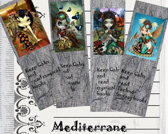 Set of 4 SteamPunk Style Bookmarks , reader gift.
