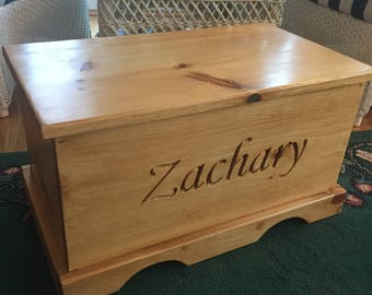 Wooden toy box etsy personalized wooden chest toy box kid storage children keepsake toddler baby gift negle Images