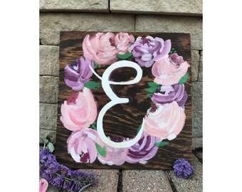 Custom Floral Wreath Wood Sign