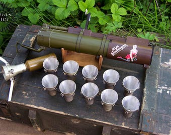 Barware shot glasses set made from Real Soviet RPG-22 tank destroyer rocket rpg launcher. An awesome gift for a real man!