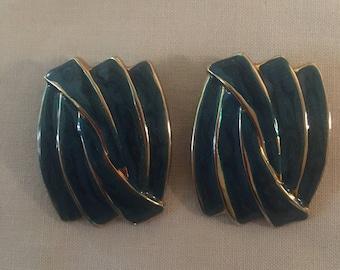 Vintage 70's Trinity Green Enamel Earrings