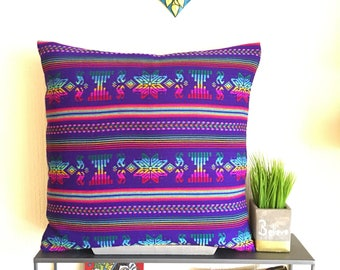 """Purple 16x16""""/18x18""""/20x20"""" Pillow Cover Made With Traditional Mexican Cambaya Fabric"""
