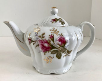 Vintage Moss Rose 4 Cup Musical Teapot