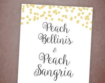Peach Sangria Bar Sign Printable, Bellinis Peach Bar Sign, Gold Confetti, Wedding Bar Decor, Sangria Drinks, Download, Bridal Shower, A001