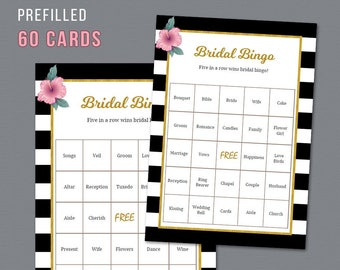 60 Prefilled Bridal Bingo Cards Printable, Kate Spade, Black White Stripes, Bridal Shower Games, Bachelorette Bingo Game, Wedding,  A014