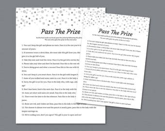 Pass the Prize Game, Pass the Gift, Pass the Parcel Rhyme Printable, Gray Confetti, Bridal Shower, Bachelorette, Wedding Shower Games, A020