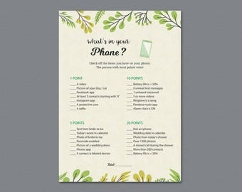 What's in your Phone Game Printable, Botanical Theme, Whats on Your Phone, Bridal Shower Games, Plants, Leaf, Wedding Shower Activity, A011