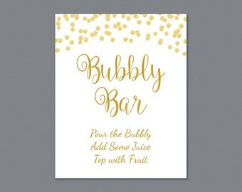 Bubbly Bar Sign Printable, Mimosa Bar Sign, Bridal Shower Decorations, Gold Foil Confetti Wedding Sign, Cocktail Drink Table Sign, A002